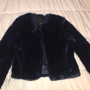 Forever21 Navy Blue Faux Fur Coat